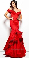 Mac Duggal Off the Shoulder Tiered Trumpet Evening Dress