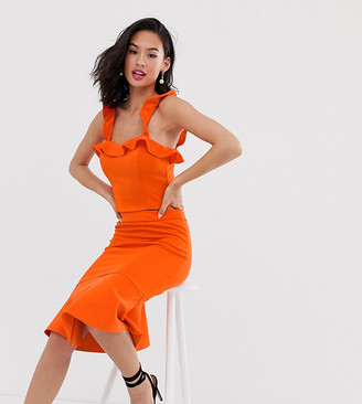 Laced In Love scuba pencil skirt with ruffle hem in orange