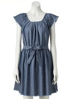Lauren Conrad Women's Frayed Chambray Fit & Flare Dress