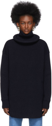 Balenciaga Navy Virgin Wool Ribbed Ring Turtleneck