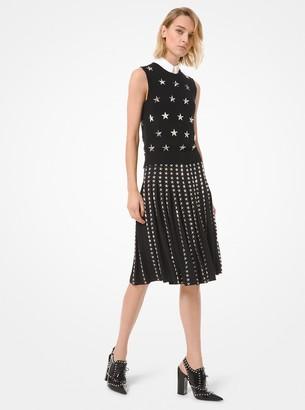 Michael Kors Star Studded Wool Serge Pleated Skirt