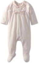 Chloe Kids - Velour Footie w/ Bow (Infant) (Pink Ice) - Apparel