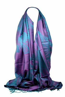 Bullahshah Quality Peacock Feather and Paisley Print Pashmina Feel Scarf Wrap Shawl Head Scarves for Women/Girls (Black/Brown)
