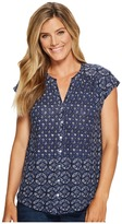 Lucky Brand Decanta Border Print Top Women's Clothing