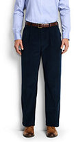 Classic Men's Traditional Fit Comfort Waist Pleat Front 18-wale Corduroy Trousers-Mid Gray Glen Plaid