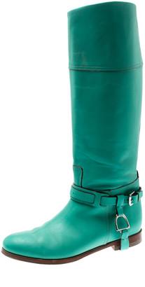 Ralph Lauren Green Leather Buckle Detail Knee Length Boots Size 39