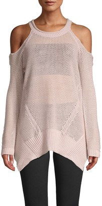 Willow & Clay Cold-Shoulder Mesh Knit Pullover