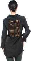 Rogue Finery Women's Cargo Cage Cutout Back Edgy Punk Goth Button-Down Top Shirt Blouse
