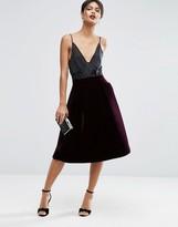 Asos Premium Prom Skirt in Bonded Velvet