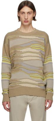 Ermenegildo Zegna Taupe and Green Hand Drawn Stitch Sweater