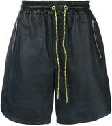 Diesel leather track shorts