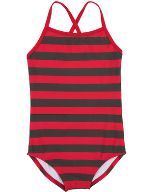 Leveret Girls' One Piece Swimsuits Red/Grey - Red & Gray Stripe One-Piece - Toddler & Girls
