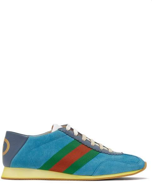 Gucci Rocket Suede Low Top Trainers - Womens - Blue