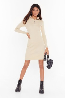 Nasty Gal Womens Zips Are Moving Ribbed Mini Dress - beige - M/L