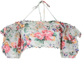 Zimmermann Floral Print Off-Shoulder Cropped Top