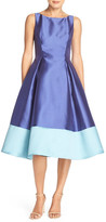 Adrianna Papell Colorblock Mikado Fit & Flare Dress