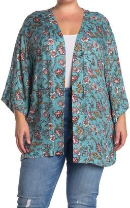 Dr2 By Daniel Rainn Floral Printed Kimono (Plus Size)
