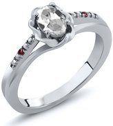 Gem Stone King 0.52 Ct Oval White Topaz Red Rhodolite Garnet 14K White Gold Ring