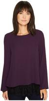 Karen Kane Sheer Overlay Lace Hem Top Women's Clothing