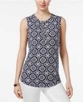 Charter Club Printed Henley Top, Created for Macy's
