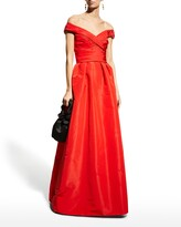 Thumbnail for your product : Monique Lhuillier Off-the-Shoulder Draped Bodice Gown