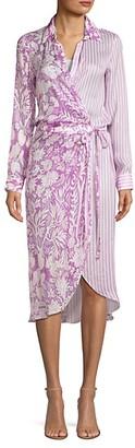 HEMANT AND NANDITA Floral Stripe Midi Shirtdress
