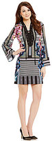 Antonio Melani Jane Printed Lace-Up V-Neck Long Sleeve Crepe Dress