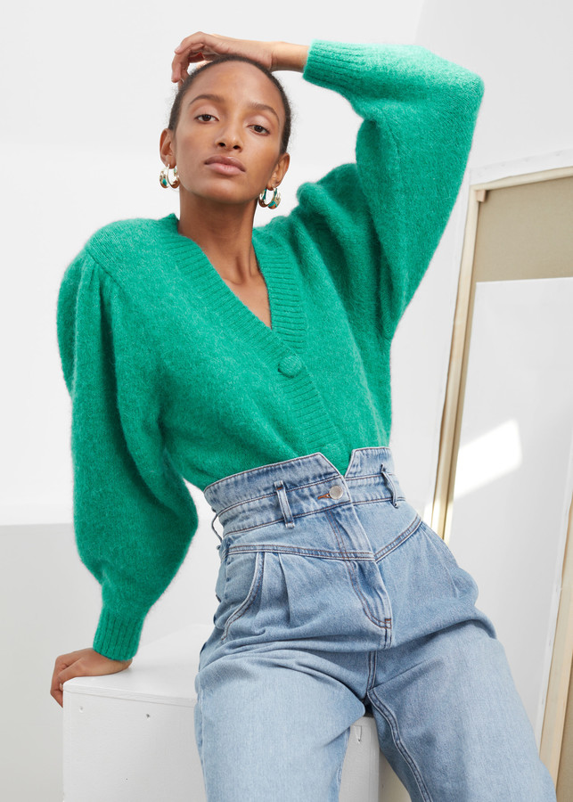 Puff Sleeve Cropped Cardigan