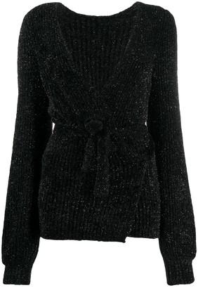 Emporio Armani Sparkle-Embellished Ribbed-Knit Wrap Cardigan