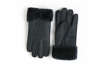 YISEVEN Women Rugged Sheepskin Shearling Leather Gloves Three Points Wing Cuffs Soft Thick Furry Lined Warm Winter Dress Driving gift Navy Blue XXL