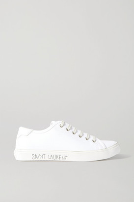 Saint Laurent Malibu Leather-trimmed Distressed Cotton-canvas Sneakers - White
