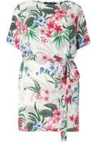 Dorothy Perkins Womens DP Curve Plus Size White Tropical Print Tie Waist Tunic- White