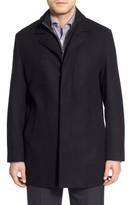 Cole Haan Men's Wool Blend Top Coat With Inset Knit Bib