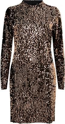 Wallis Bronze Velvet Sequin Swing Dress