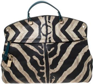 Furla Black/Cream Zebra Print Leather Piper Top Handle Bag w/ Zippy Wallet
