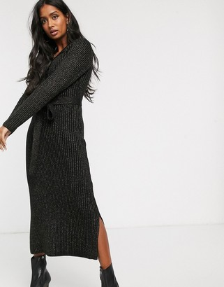 Lost Ink knitted maxi dress with button front in glitter rib-Black