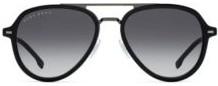 Double-bridge sunglasses in black acetate and titanium