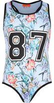 River Island Girls blue floral print sleeveless swimsuit