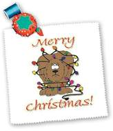 3dRose LLC qs_160507_4 Blonde Designs Happy Holidays For All - Merry Christmas Dog Wrapped In Lights - Quilt Squares
