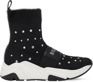 Balmain Embellished Knit Sock Sneakers