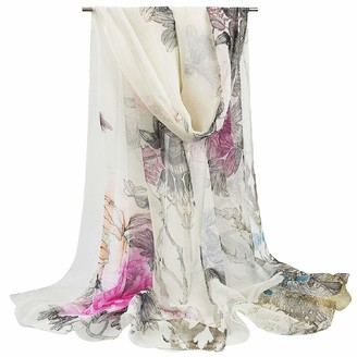 Voqeen Women Scarf Lady Sunscreen Georgette Scarf Ladies Long Beach Scarf Elegant Floral Printed Georgette Scarf Lightweight Scarf Shawl Wrap for Women and Girl All Season Scarf