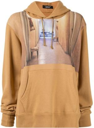 Undercover contrast print hoodie
