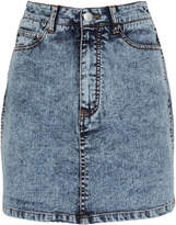 Tibi High-Rise Acid Denim Mini Skirt
