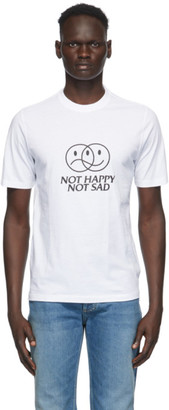 Vetements White Not Happy Not Sad T-Shirt