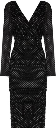 Dolce & Gabbana Polka Dot Fitted Midi Dress
