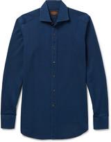 Tod's - Cutaway-collar Garment-washed Cotton-twill Shirt
