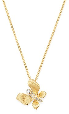 Bloomingdale's Diamond Butterfly Pendant Necklace in 14K Textured Yellow Gold, 0.05 ct. t.w. - 100% Exclusive