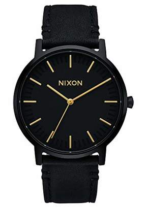 Nixon Porter Leather A1058-1031 Black Leather Men's Watch 40mm