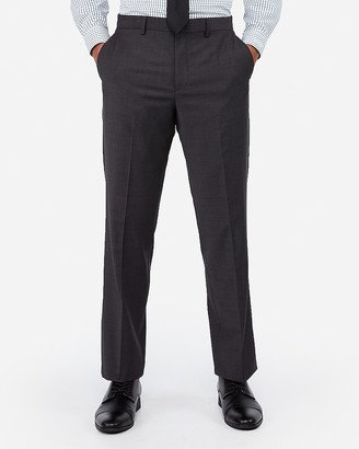 Express Classic Charcoal Wool Blend Wrinkle-Resistant Performance Suit Pant