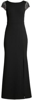 Aidan Mattox Embellished Sleeve & Back Trumpet Gown